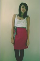 white Frenchi top - pink skirt - black tights - belt - brown shoes