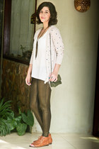 metallic Zara leggings - leather Andarella shoes - leather couro fino bag