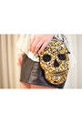 Black-leather-vintage-skirt-gold-skull-bord-ateli-purse