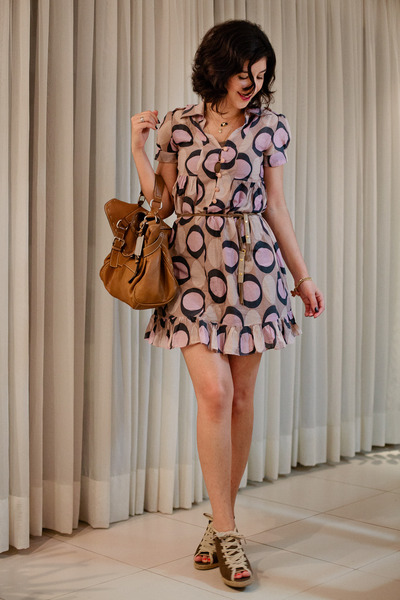 dark khaki lace up Cervera wedges - light pink polka dots Sara dress