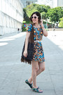 Blue-butterfly-print-farm-dress-navy-hippie-bag-vintage-bag