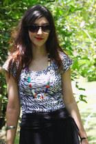 white Renner shirt - black Sandpiper skirt - mustard Couthe - ruby red Snow Goos