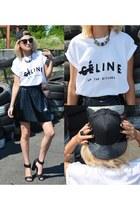 celine Ebay t-shirt - vinyl DIY skirt - black H&M sandals