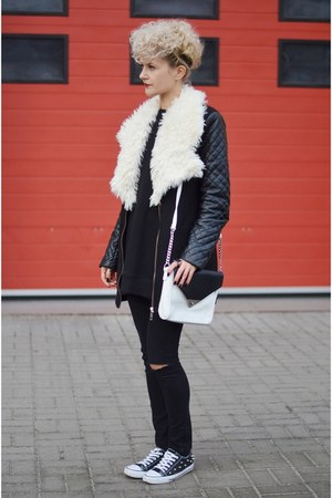 black black unknown coat - white pu Mohito bag