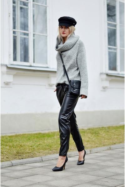 black black vintage hat - heather gray unknown sweater