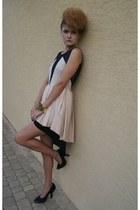 black woal hat - mesh my design dress dress - black Topshop heels