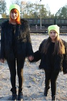 faux fur River Island coat - faux fur Ebay coat - neon Topman hat