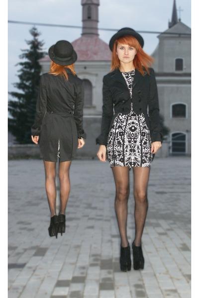 tuxedo asos jacket - H&M dress - bowler asos hat