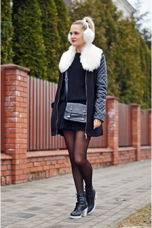faux leather unknown coat - blackwhite new look boots - white fur unknown hat