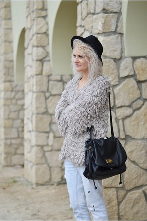 beige shaggy second hand cardigan - light blue boyfriend River Island jeans