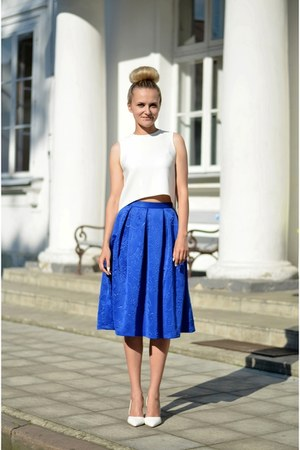 white crop my design top - blue midi my design skirt - white Brilupl heels