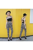 black blackwhite H&M pants - black cut out DIY top - black spike deezee heels