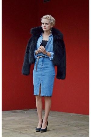 black fur Topshop jacket - black black Topshop heels