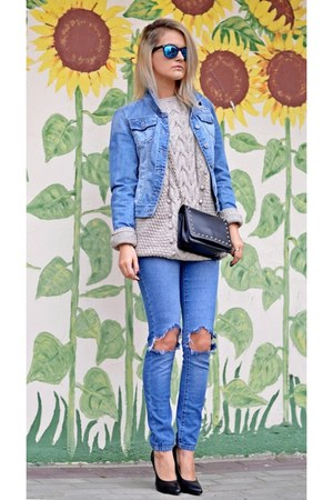 black studded Mohito bag - sky blue DIY jeans - sky blue jeans H&M jacket