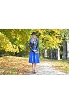 blue cobalt SH skirt - black round SH hat - black biker H&M jacket