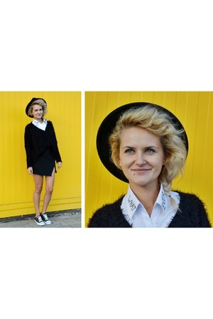 black shaggy DIY sweater - black round hat - white whatever DIY shirt