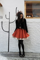 fur jacket - dress - mesh hat - HUE stockings