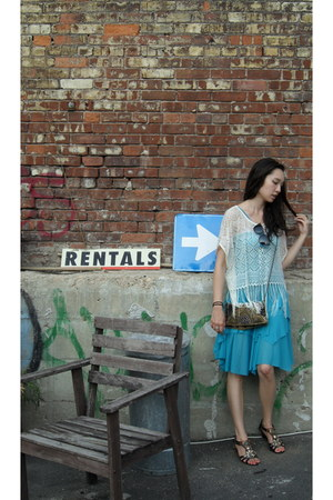 turquoise blue BCBG dress - brown Forever21 bag - white H&M top
