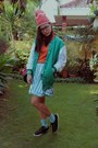 green varsity jacket - black sneakers Converse sneakers