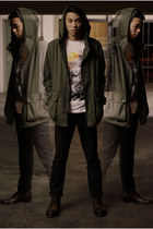 army green ben sherman jacket - dark brown Aldo boots