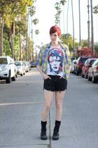black altama boots - blue Paper Doll shirt - black H&M shorts