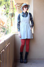 Silver-cope-dress-burnt-orange-we-love-colors-tights-black-vintage-blouse