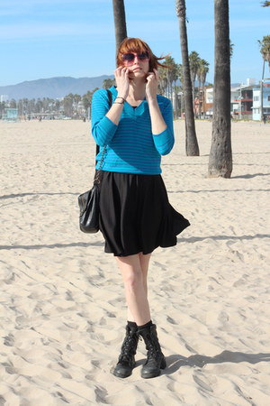 black vintage dress - black altama boots - turquoise blue vintage sweater