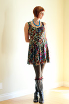 maroon vintage dress - dark brown AK Anne Klein boots - blue vintage necklace