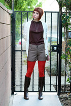 burnt orange We Love Colors tights - dark brown AK Anne Klein boots