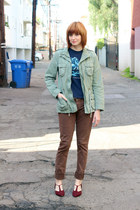 maroon vintage shoes - brown BDG jeans - army green Mossimo jacket