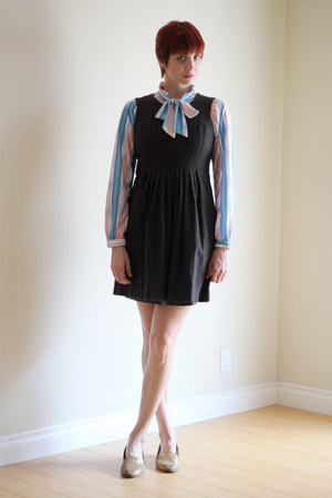sky blue Fiery Finish Vintage blouse - dark brown banana republic dress