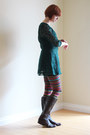 Dark-brown-leather-ak-anne-klein-boots-forest-green-lace-vintage-dress