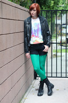 black altama boots - black Nine West jacket - green We Love Colors tights