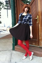 red HUE tights - black thrifted vintage dress - blue Target shirt