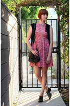 black free people vest - hot pink vintage dress