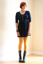 black Soda boots - navy velvet vintage dress - mustard Gap tights