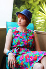 Hot-pink-vintage-dress-blue-vintage-hat-turquoise-blue-vintage-bracelet
