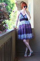 deep purple MAGIC dress - white H&M sunglasses - teal H&M sandals