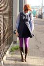 Dark-brown-ak-anne-klein-boots-navy-liz-claiborne-dress