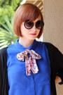 Blue-h-m-blouse-black-vintage-cardigan-blue-h-m-pants-mustard-h-m-bracelet