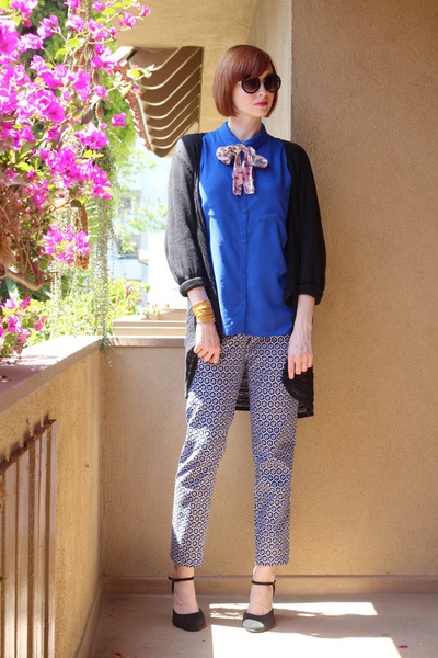 blue H&M blouse - black vintage cardigan - blue H&M pants - mustard H&M bracelet