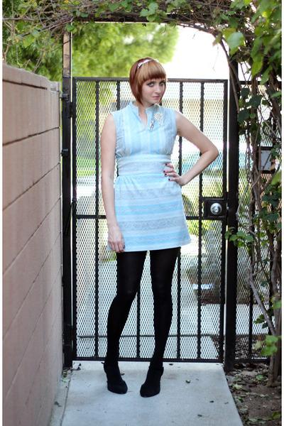light blue vintage dress - black H&M tights