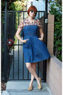 Navy-jfw-dress-brown-vintage-blouse-gold-bass-flats