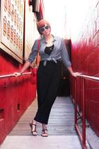 black H&M dress - red thrifted vintage bag - white H&M sunglasses