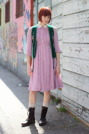 bubble gum vintage dress - dark brown Mossimo boots - off white wool H&M socks