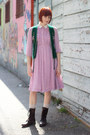 Dark-brown-mossimo-boots-bubble-gum-vintage-dress-off-white-wool-h-m-socks