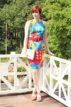 red vintage dress - white vintage bag - blue rainbow stripe Mossimo wedges