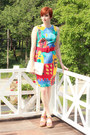 Red-vintage-dress-white-vintage-bag-blue-rainbow-stripe-mossimo-wedges
