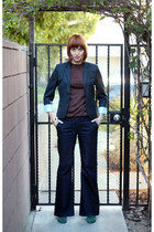 navy J Crew blazer - dark green vintage boots - dark brown vintage top