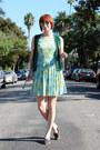 Light-blue-vintage-dress-green-vintage-vest-gray-vintage-flats